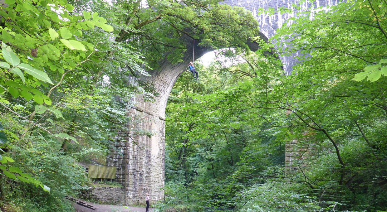 Abseiling off Millersdale Viaduct